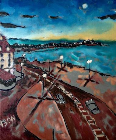 Brighton at dusk. 10in x 12in.