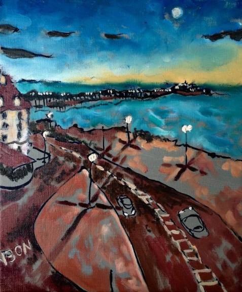 Brighton at dusk. 10in x 12in. Available