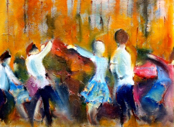 Russian folk dancers. Oil on canvas. 16in x 12in. Available