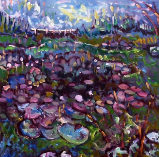 Water Lillies at Ruskin Mill, Gloucestershire. Oil on canvas. 16in x 16in. Available