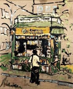 News Stand. Oil on canvas. 10in x 12in.