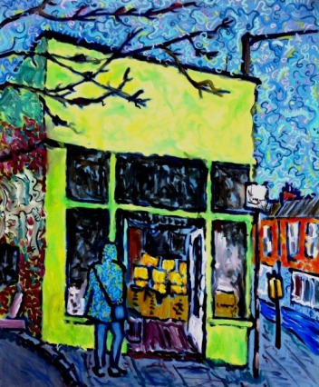 Stokes Croft Bakery, Bristol, Oil on canvas, 20in x 24in. Available