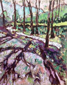 Cardinham Woods, Cornwall. Oil on canvas. 16in x 20in. Available